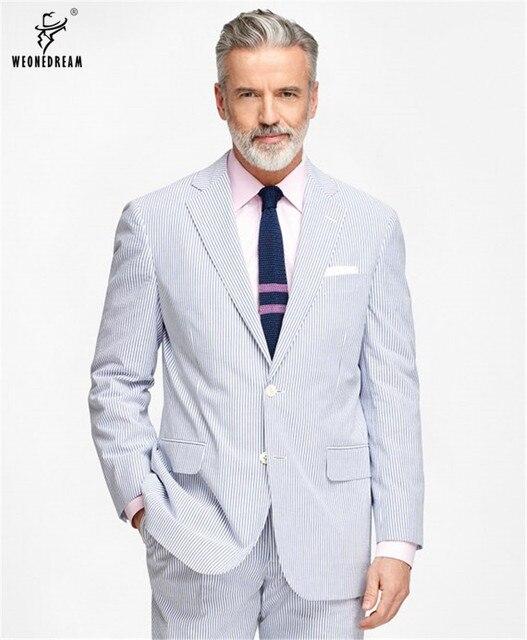 2018 Unique Poitrine Personnalisé Hommes Costumes Homme Classique Bleu et  Blanc Bande De Laine Marque D 237d72b678d