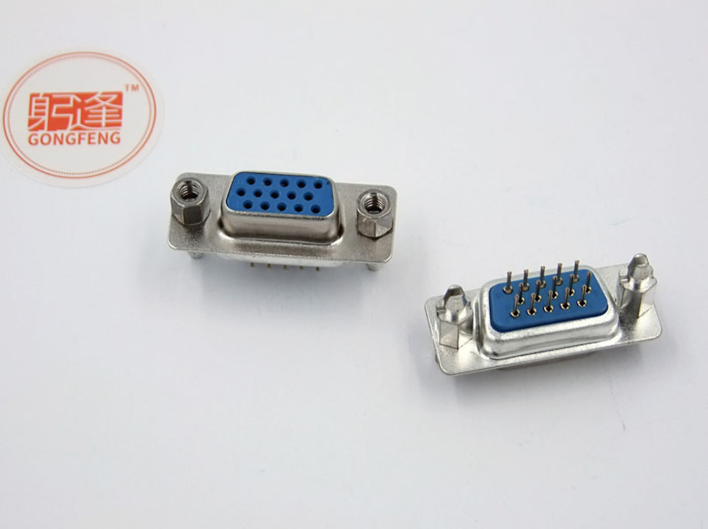 100pcs New Db15 Vga Female Connector With Fixed Foot