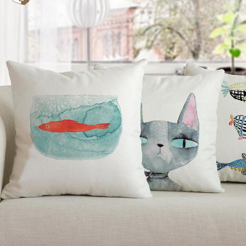 Cute Cartoon Cat Pillow Simple Watercolor Print Fish Tank Cushion Hand Painted Modern Art Painting For Home Room Decoration