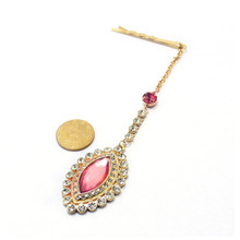 Valentine's Day Lady Teardrop Emeral Crystal Bindi Hair Clip Pin Chain Tikka Indian Jewelry Dancer Jewelry Wedding Accessories