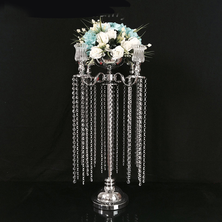 Home & Garden 100% Quality 76cm Tall Silver Wedding Candelabras Flower Stand Crystal Table Centerpiece Wedding Decoration 10 Pcs/lot
