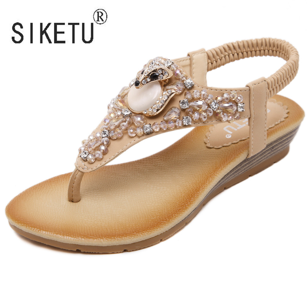 Women's sandals with bling - 2017 New Fashion Summer Women Sandals Rhinestone Flats With Leisure Beach Women Shoes 35 41