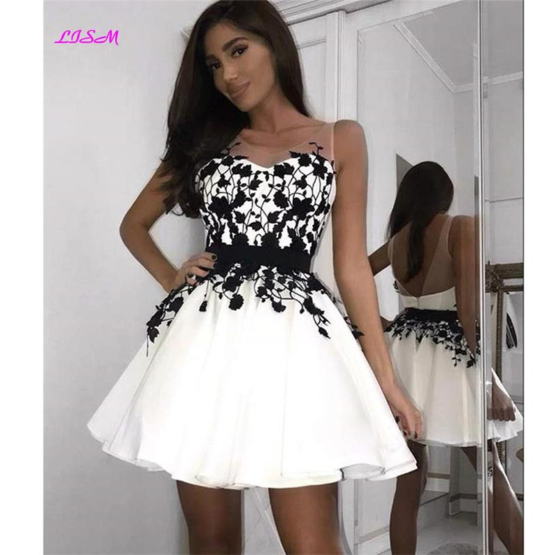 2019 Illusion Appliques Short   Cocktail     Dresses   Mini Backless Homecoming   Dress   A-Line Appliques Prom Party Gowns Vestidos Coctel