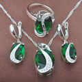 New Band Green Stone Cubic Zirconia Women's 925 Silver Jewelry Sets Necklace Pendant Earrings Rings Free Shipping TZ087