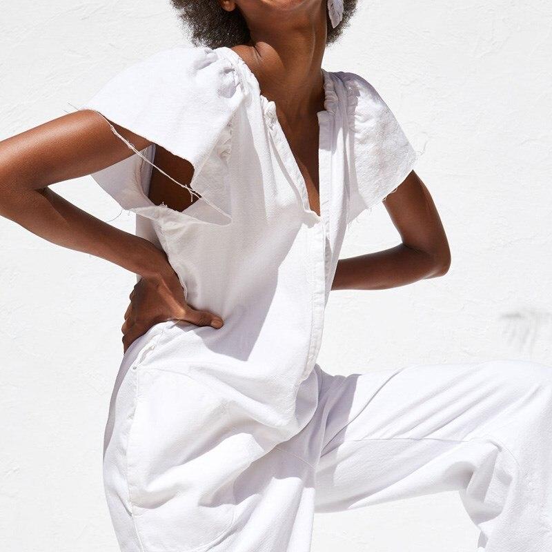Ladies Sexy Long   Jumpsuits   Women   Jumpsuits   Fashion White Short Sleeve Bodysuit Female Elegant V Neck Ruffles   Jumpsuit