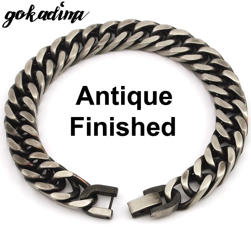 GOKADIMA 2018 nieuwe stijl antieke afgewerkte roestvrijstalen ketting - Mode-sieraden - Foto 2