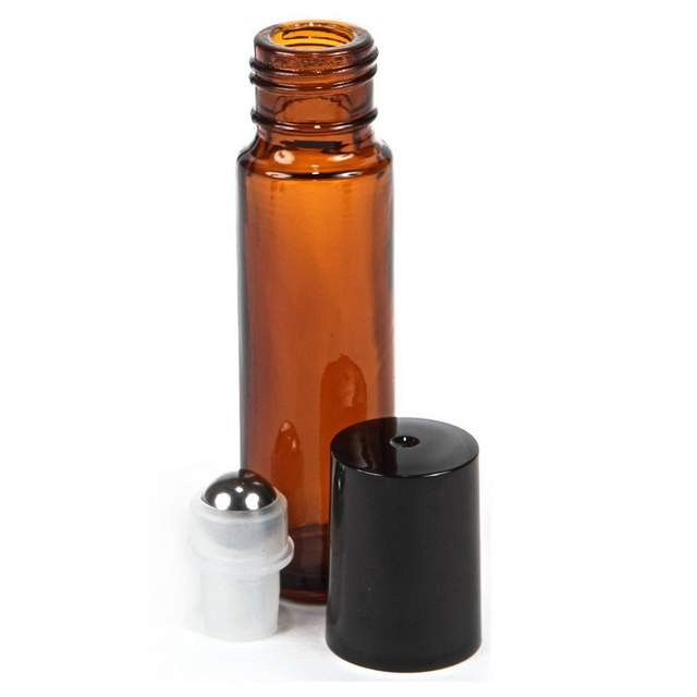 48c23ceac7c9 US $20.71 30% OFF|24pcs 10ml Empty Amber Glass Essential oil Roll On Bottle  Vials with stainless steel metal roller ball for perfume aromatherapy-in ...