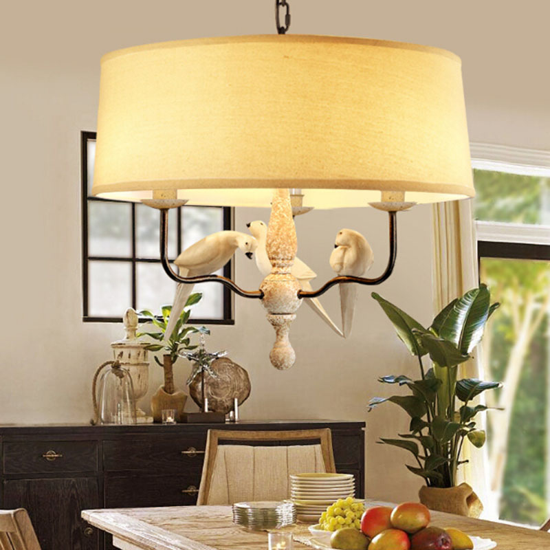 American Country Style Bird Droplight bird flax fabric lampshade for kitchen lighting dining room E14 pendant lamp