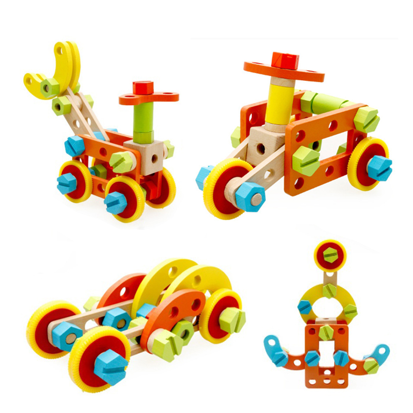 ФОТО baby learning educational wooden toys blocks screws nuts assemblage geometric shape mwz enlightenment kids gifts 4192