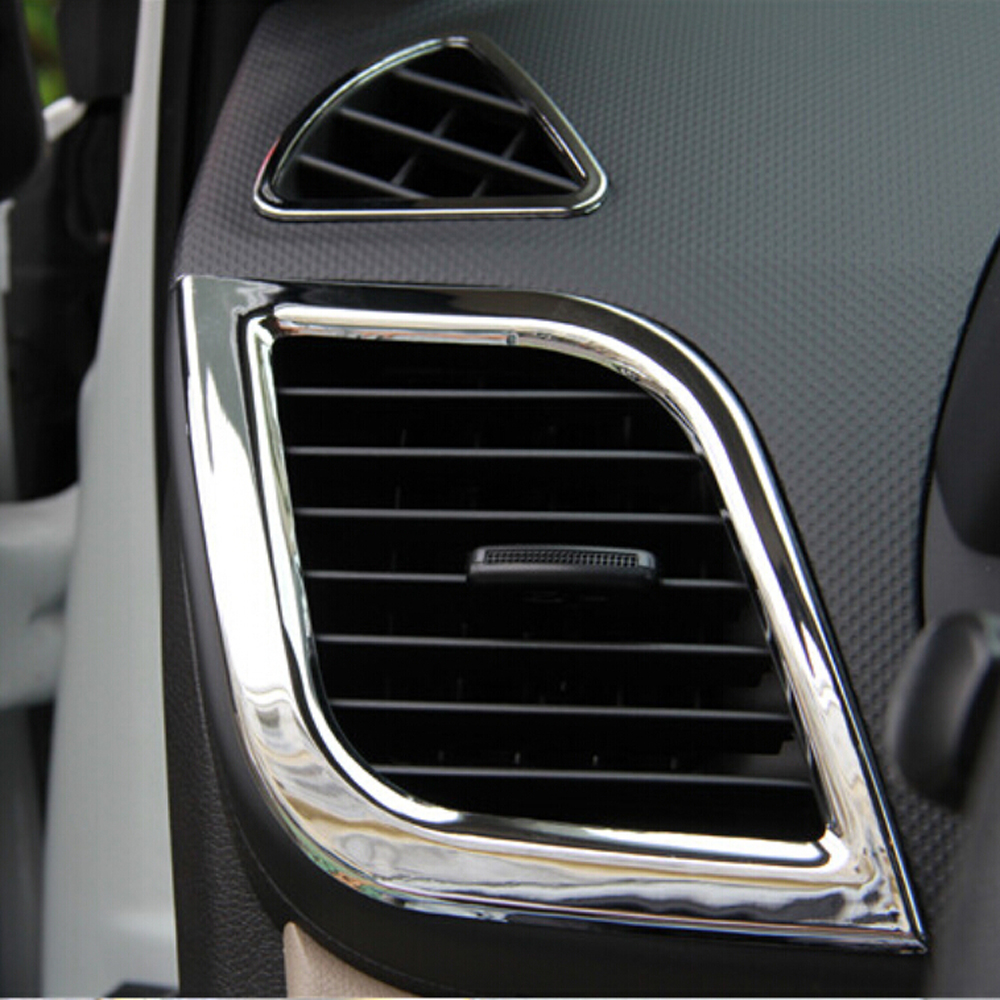 Image 3 - 6 Pcs/set new design ABS chrome interior Air outlet decoration ring for Hyundai Solaris Verna accent sedan hatchback 2011 2015-in Car Stickers from Automobiles & Motorcycles