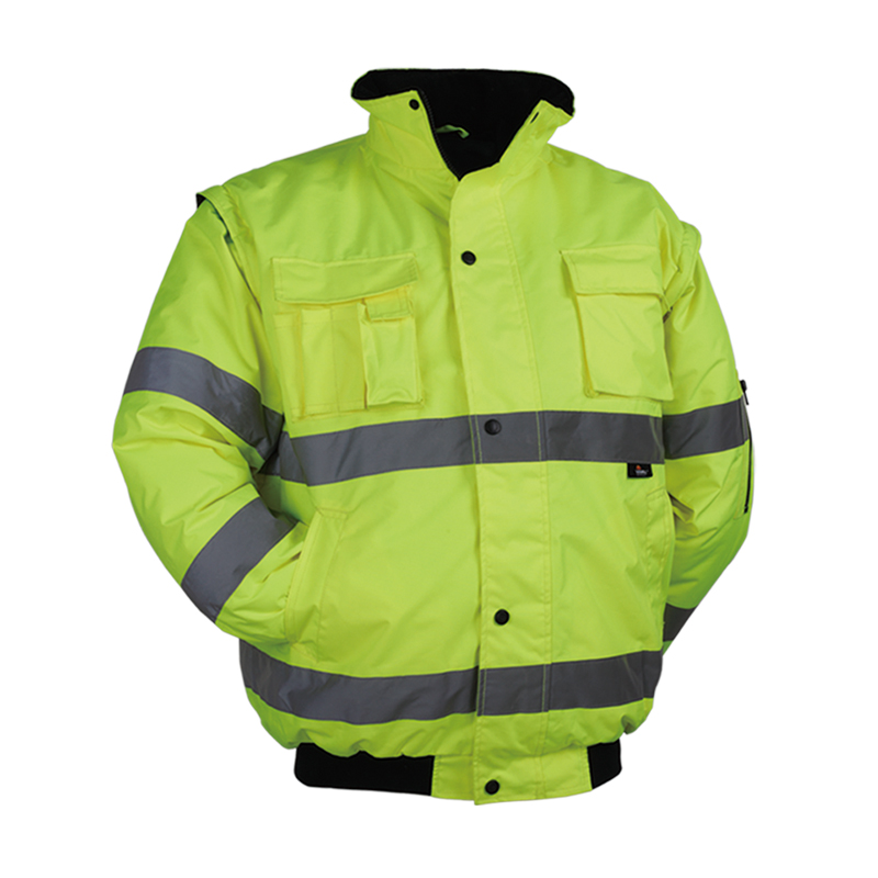 Men's Winter Hi Vis Yellow Safety Jacket Reflective Waterproof Jacket With Removable Sleeves Reflective Workwear