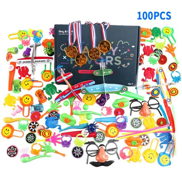 100pcs Children's Educational Toys Birthday Party Party Small Toys Children's Holiday Small Gifts Prizes Color Box