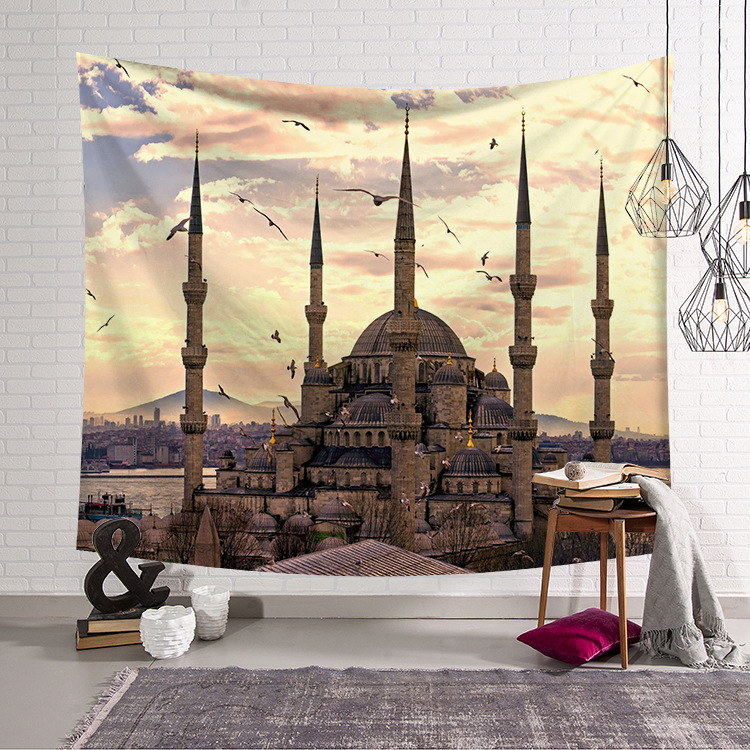 CAMMITEVER European Castle Church Architecture Tapestry House Building Wall Hanging Couch Decor Beach Blanket-in Tapestry from Home & Garden