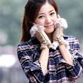Women Beautiful New Fashion Faux Fur Suede Half Hand Warmer Winter Fingerless Wrist Gloves Mittens Leopard Lace-up S4694