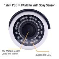Zjuxin SONY sensor 12MP HD 4K 3.6 11mm motorized lens P2P H.265 Bullet Network camera HD PoE IP66 outdoor IR CCTV IP CAMERA