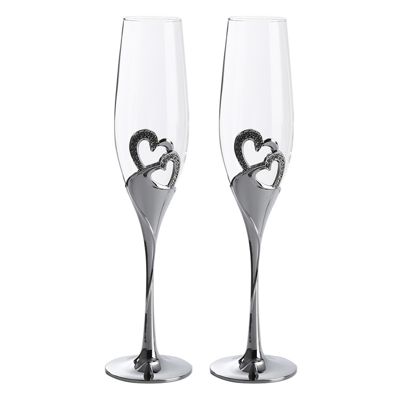 Hot Sale 2 PCS/Set Crystal Wedding Toasting Champagne Flutes Silver Heart glasses Cup Wedding Party Decoration Wine Drink Gifts