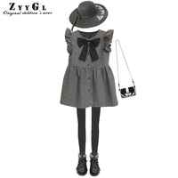 ZYYGL Original Design Children Clothing Wool Houndstooth Girls Dress 2017 Autumn And Winter Children Princess Dress
