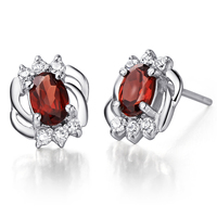 Natural Garnet Earrings Stud 925 Sterling silver Woman Fine Elegant Red Gem Jewelry Girl Birthstone Valentine Birthday Love Gift