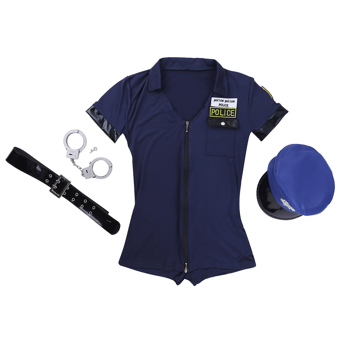 Women Police Officer Uniform Cosplay Costume Short Sleeves V-neck Built-in Shorts Dress With Handcuffs Belt Hat Sexy Costumes
