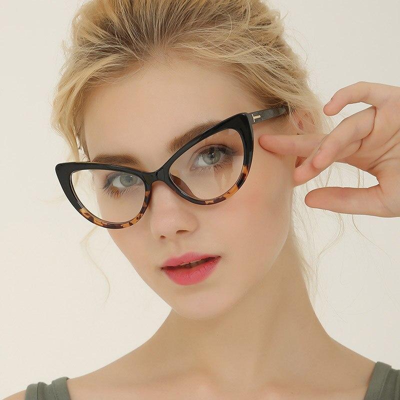 High Quality Optical Glasses Frame T Cat Eye Eyeglasses Myopia Frames Women Clear Transparent Glasses Women's Flower Frames 2019