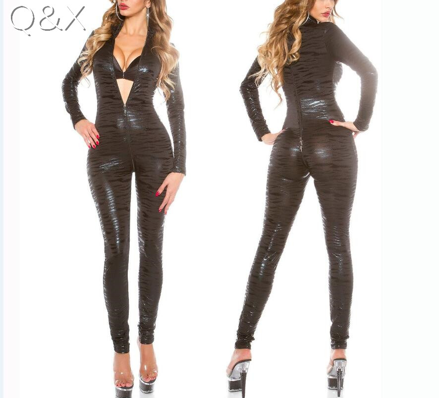 XX85 2017 Sexy Women Faux Leather Leopard Erotic Latex Front To Back Zipper  Jumpsuit PVC Bodysuit Night Club Dance Teddies