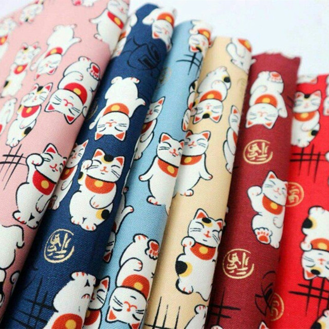Half Yard Import Cartoon Gilt Lucky Cat Print Fabric Handmade Diy Patchwork Sewing Mouth Gold Package Bag Cloth Cr A401