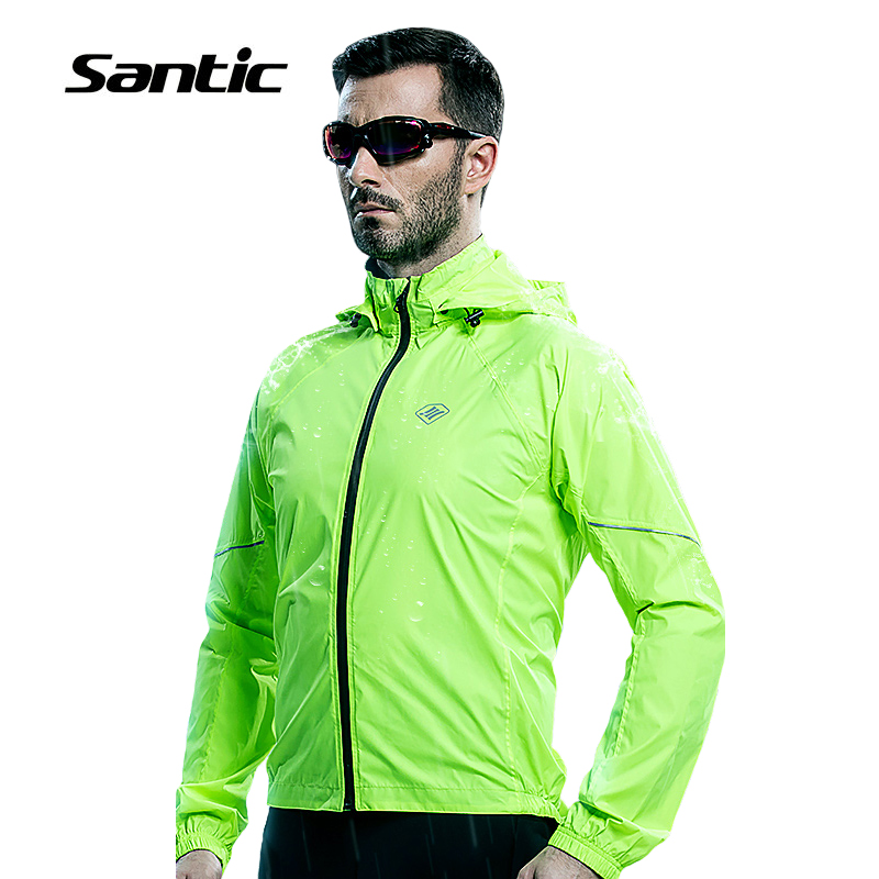 ФОТО Santic Professional Waterproof Cycling Jersey Raincoat SPF30+ Breathable Hooded MTB Road Bike Rain Jacket Clothing Ropa Ciclismo