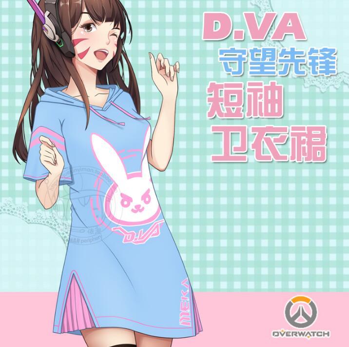 watch over Kawaii D.va Long Patchwork T-shirt DRESS Women  Dva T-shirts Hooded Ladies Diva Hana Song With Ears D.va Pajamas