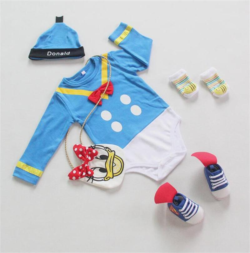 Loongbob 2016 Baby Rompers Donald Duck Infant Boys Clothing Set Long Sleeve Romper + Hat Newborn Baby Boy Jumpsuit winter warm thicken newborn baby rompers infant clothing cotton baby jumpsuit long sleeve boys rompers costumes baby romper