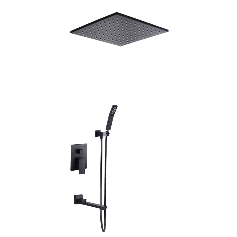 Купить с кэшбэком Bathroom Solid Brass Concealed Embedded Box Mixer Valve Various Style Black Wall/Ceiling Mounted Rainfall Shower Set with Spout
