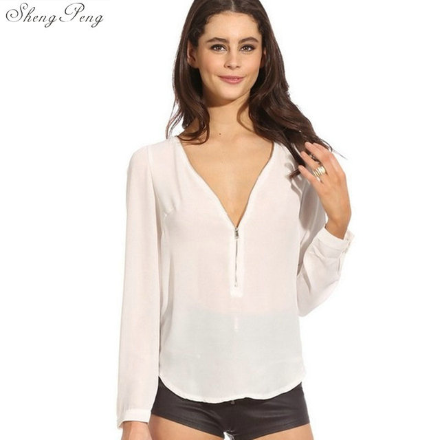 Women's Shirt Autumn V Neck Zipper long Sleeve Womens Tops And Blouses Casual Office Ladies Shirts V1084
