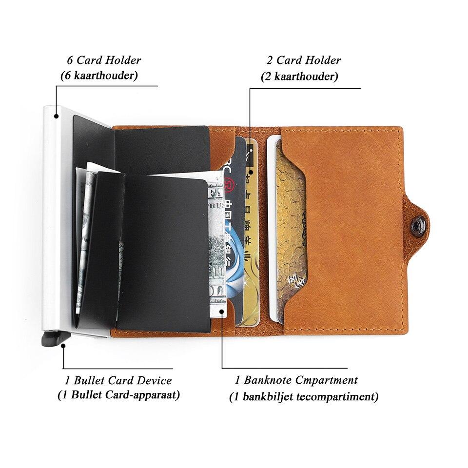 Antivol haute qualité hommes support de carte Rfid porte-carte de crédit en Aluminium avec Rfid bloquant Mini portefeuille en cuir véritable - 5