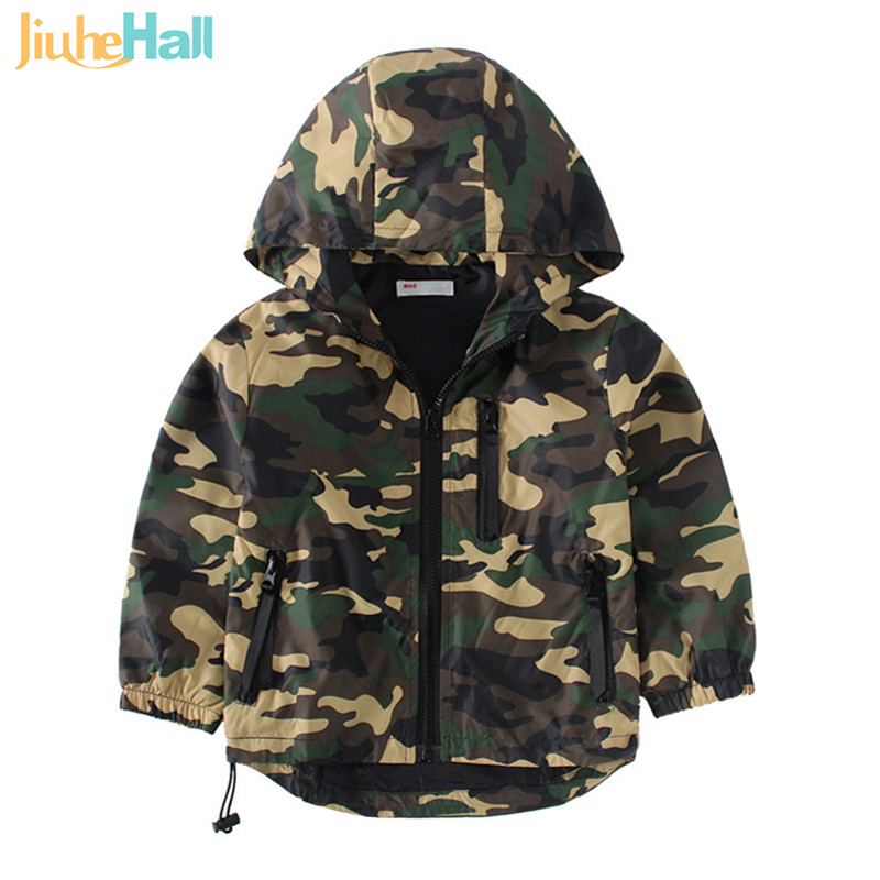 2017 New & Hot Children's Hooded Jackets Boys Camouflage Zipper Windbreaker Long Sleeve Casual Trench For Kids 3-7 Years CMB409