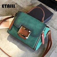 ETAILL Vintage Casual Nubuck PU Leather Handbags High Quality Ladies Top Handle Flap Bag Women Messenger