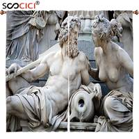 Window Curtains Treatments 2 Panels Sculptures Decor Collection Male And Female Statues Athena Fountain In Front