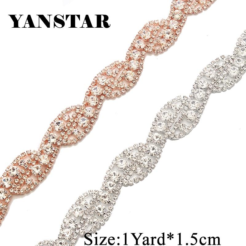 YANSTAR 1Yard Welding Handmade Rhinestone Appliques Sew On For Wedding Dress Belt Iron On For Bridal Gowns Sash YS947