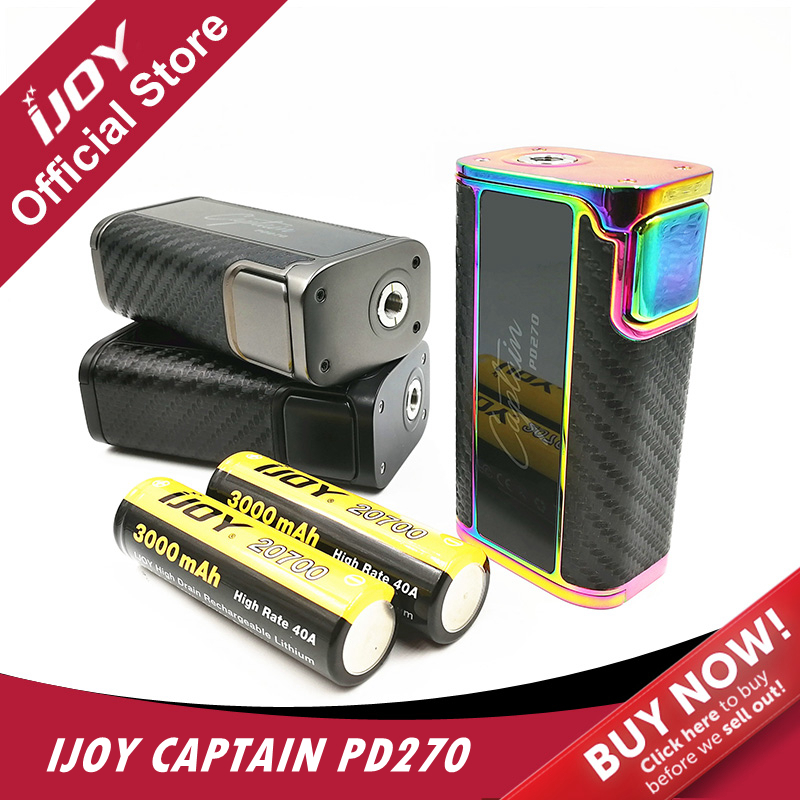 Original IJOY Captain PD270 Box MOD 234W OLED Screen Box Mod Electronic Cigarette Vaper Power by Dual 20700 Batteries original ijoy captain pd270 box mod e cigarette vape 234w ni ti ss tc vapor power by dual 20700 battery new colors