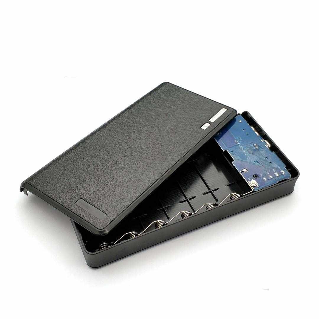 Chargeur portatif à deux bornes usb 6x18650 boîtier de chargeur de batterie de secours externe pour téléphone