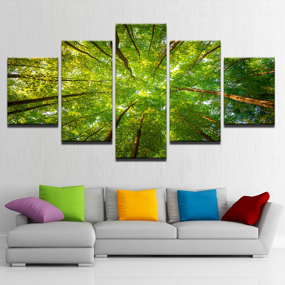Home Decor Canvas Pictures Framework HD Prints Poster 5 Pieces Green Sunshine Woods Trees Paintings Modular Living Room Wall Art