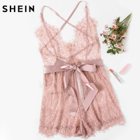 SHEIN Sexy Lingerie Onesies Sexy Pajama Bottoms Pink Spaghetti Strap Ribbon Tie Waist Plunging Lace Sleep