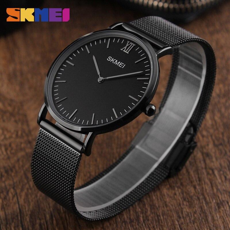 SKMEI Men Women Quartz Wristwatches 1181 Stainless Steel Strap Waterproof Clocks Relogio Masculino Fashion Simple Lover Watches  slip-on shoe