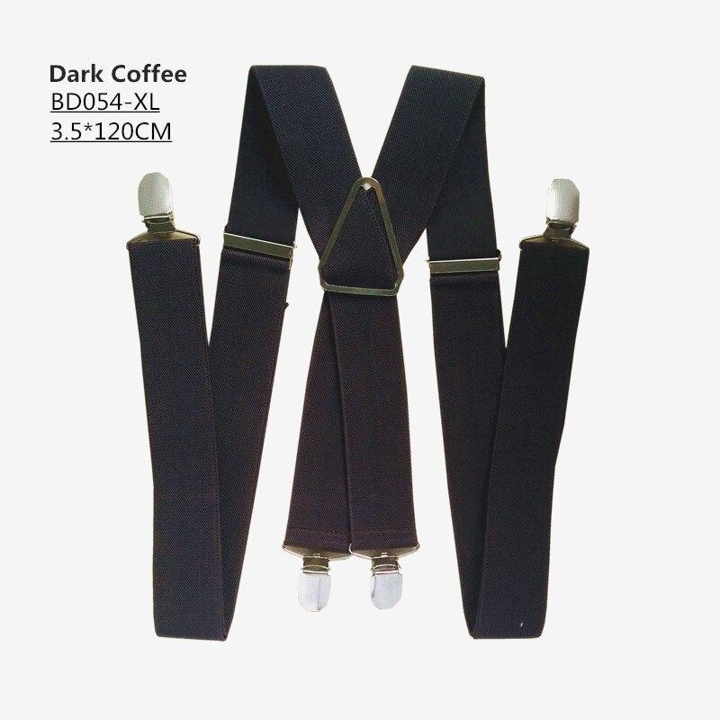 Одноцветные подтяжки унисекс для взрослых, мужские XXL, большие размеры, 3,5 см, ширина, регулируемые эластичные, 4 зажима X сзади, женские брюки, подтяжки, BD054 - Цвет: Dark coffee-120cm