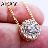 AEAW Echt 10 K Weiß Und Gelb Gold Lab Grown 3mm Moissanite Diamant Anhänger mit Chian Halskette Für Frauen