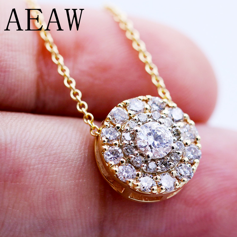 AEAW Real 10 White And Yellow Gold Lab Grown 3mm Moissanite Diamond Pendant with Chian Necklace For Women 18k 750 white gold moissanite pendant round cut lab grown moissanite diamond chain pendant necklace for women in fine jewelry