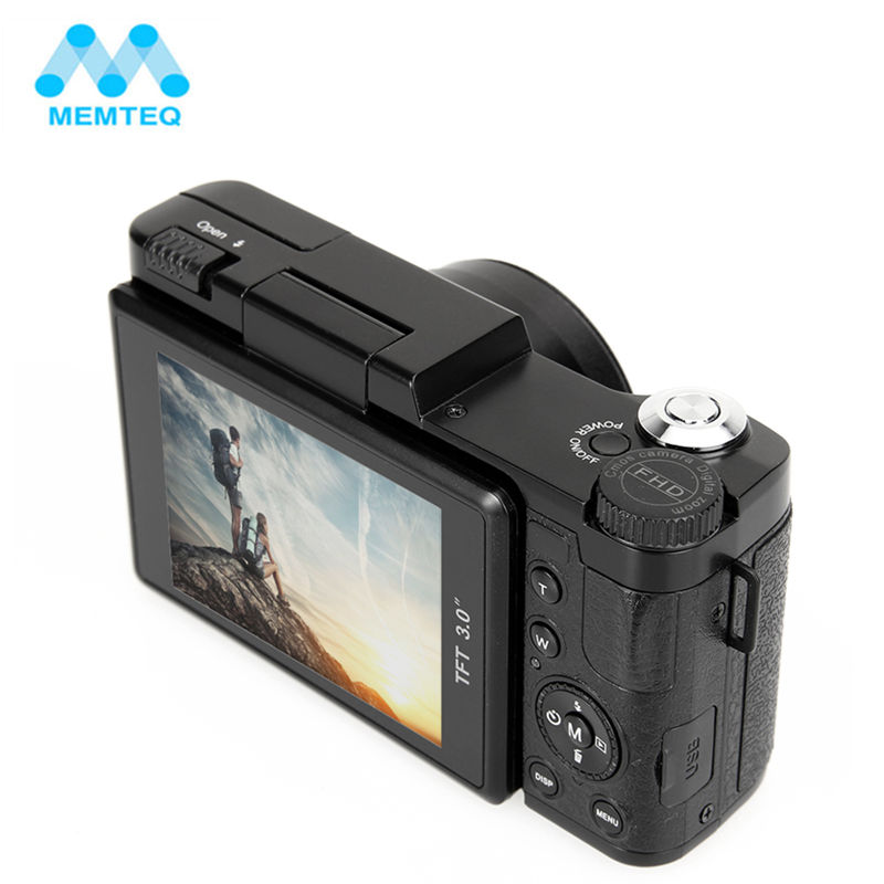 MEMTEQ 3 TFT LCD Full HD 24MP Digital Camera Video 1080P Camcorder CMOS Video Lens + Filter Mini Digital Camera sjcam sj4000 1 5 tft 12 0 mp 2 3 cmos 1080p full hd outdoor sports digital video camera black