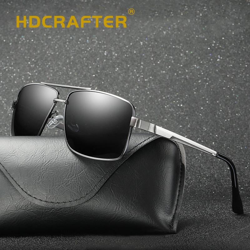 HDCRAFTER Sunglasses Men Polarized Vintage Brand Design UV400 High Quality Driving Sun Glasses For Male Zonnebril Mannen