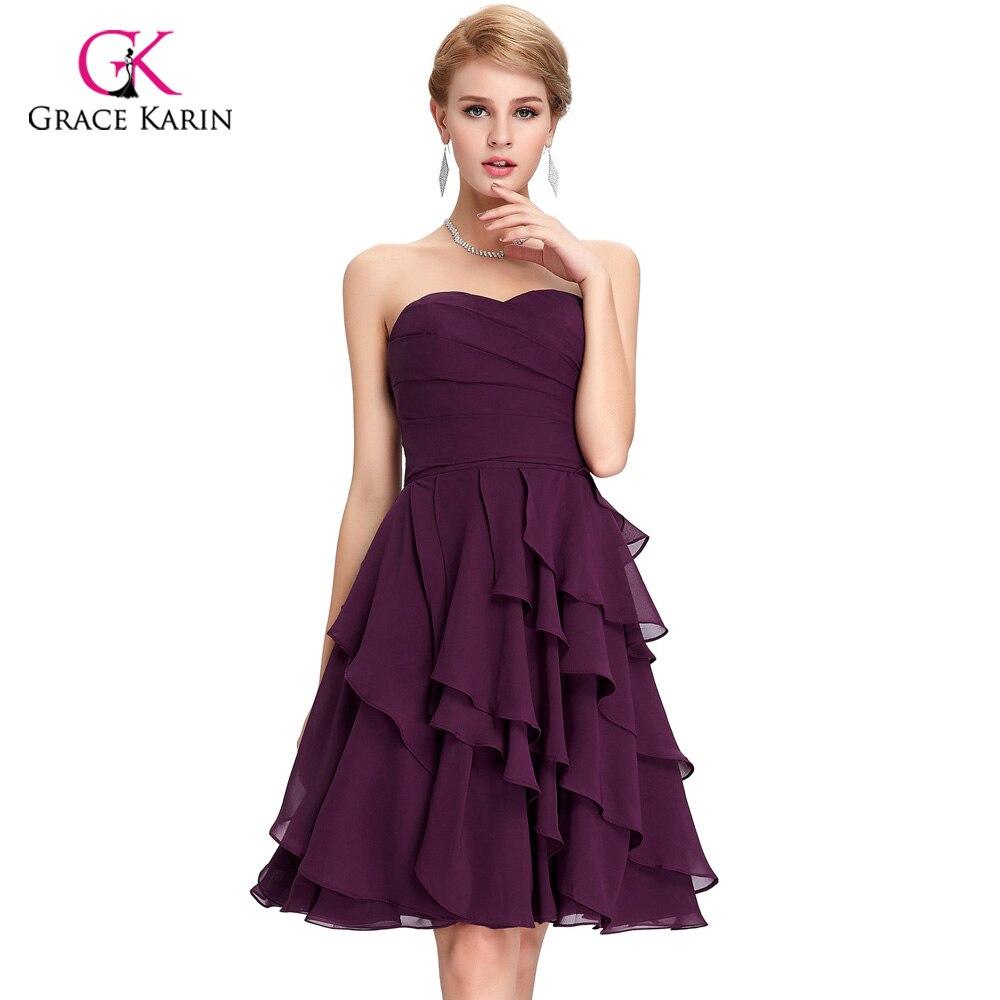 Cheap Short Purple Chiffon Wedding Dress