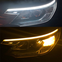 car Styling 2PCS 30/45/60CM Ultra-thin Car led DRL LED Flowing Daytime Running Light AUTO Turn Signal lamps White Amber