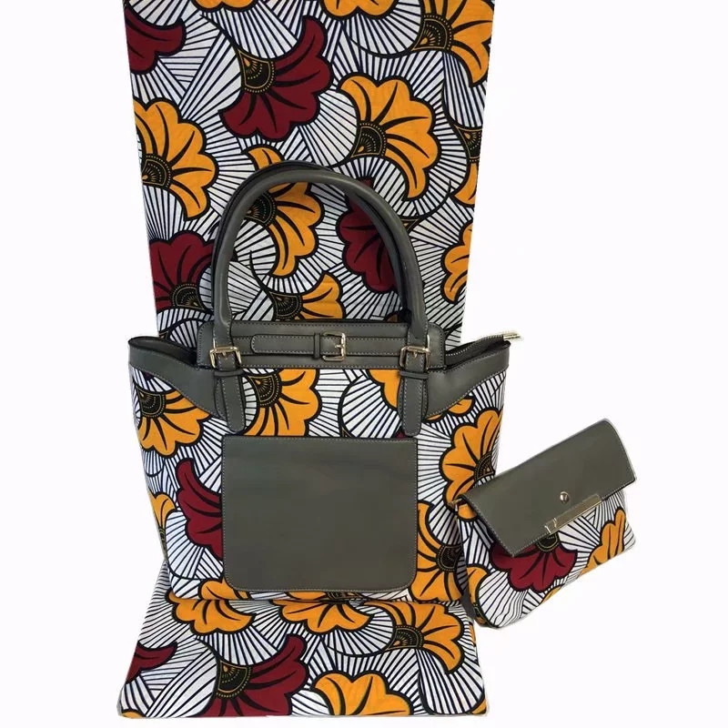 Fashion woman wax handbag set and 6 yards African cotton wax fabric.high quality african wax bags 3 pieces/set for party HF11086Fashion woman wax handbag set and 6 yards African cotton wax fabric.high quality african wax bags 3 pieces/set for party HF11086