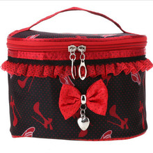 2017 Hot double layer Cute Lace Bowknot Cosmetic Bag Makeup Tool Storage Bag Multifunctional Storage Package Free Shipping S478
